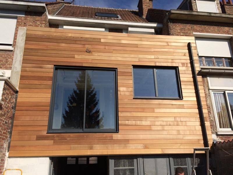 Extension garage maison extension bois terrasse ecorce for Prix extension garage